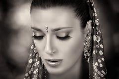种族的秀丽 印度妇女 免版税库存照片
