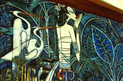 绘种族艺术片断的传统Malasia蜡染布 库存图片