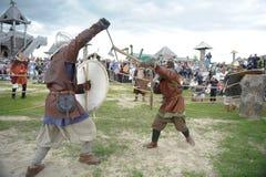 种族节日` Abalaksky领域 ` 13世纪的历史重建 西伯利亚 俄国 2016年7月 免版税库存照片