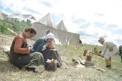 种族节日` Abalaksky领域 ` 13世纪的历史重建 西伯利亚 俄国 2016年7月 免版税库存图片