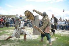 种族节日` Abalaksky领域 ` 13世纪的历史重建 西伯利亚 俄国 2016年7月 库存照片