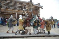 种族节日` Abalaksky领域 ` 13世纪的历史重建 西伯利亚 俄国 2016年7月 图库摄影