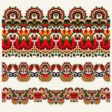 种族花卉佩兹利条纹样式,边界集合,乌克兰trib 图库摄影
