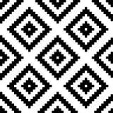 种族部族之字形和菱形无缝的样式 秀丽时尚设计的传染媒介例证 黑白色颜色 库存例证