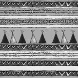 种族部族圆锥形小屋无缝的样式 皇族释放例证