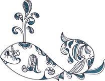种族风格化鲸鱼 免版税库存照片