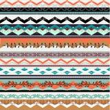 种族boho无缝的样式 五颜六色的边界背景纹理 库存图片