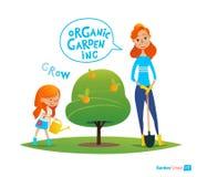 种植与孩子的树 概念eco和平鸽子 女孩水厂在庭院里 参与蒙台梭利教育活动 有机雀鳝 库存例证