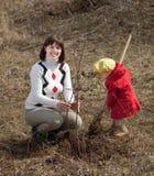 种植结构树的母亲和女孩 免版税图库摄影