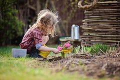 种植风信花的儿童女孩在春天庭院里开花 免版税库存照片