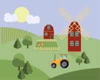 种田与动物,拖拉机,磨房农业例证传染媒介 免版税库存照片