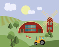 种田与动物,拖拉机,磨房农业例证传染媒介 免版税图库摄影