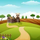 种田与棚子和红色风车的风景在白天 向量例证