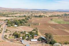 种田与从Tierberg看见的葡萄园的风景在Keimoes 库存图片