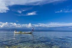 种田在努沙Lembongan,巴厘岛的海草 免版税库存照片