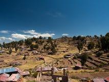 种田在Taquile海岛,秘鲁 图库摄影