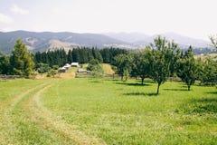 种田山 导致房子的道路 许多间隔和架置风景 免版税库存照片