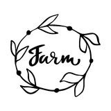 种田手拉的商标,与花卉框架的标签 导航例证食物和饮料的,餐馆,菜单eps 10,生物 库存照片