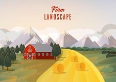 种田有干草麦田和山的风景全景 库存照片
