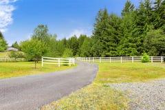 种田有木篱芭的车道在奥林匹亚,华盛顿州 免版税库存照片
