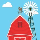 种田风车,谷仓,篱芭,房子 免版税库存照片