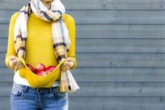 种田,从事园艺,收获,秋天和人概念-妇女用在秋天庭院的苹果 免版税图库摄影