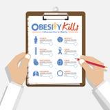8种疾病的Infographic由于在平的设计的肥胖病 拿着剪贴板的Doctor's手 医疗和医疗保健报告 库存例证