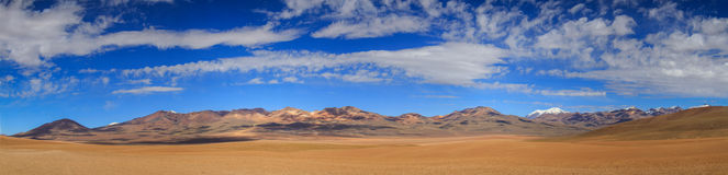 7种颜色山全景, Altiplano,玻利维亚 免版税库存照片