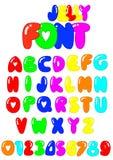 26种颜色果冻字体 免版税库存图片