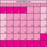 11 2018种颜色桃红色计划者日历 免版税库存照片