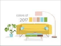 2017种颜色的客厅 免版税库存照片