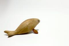 绝种Steller& x27的被雕刻的木头; s在白色背景的海象孤立 图库摄影