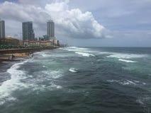 科伦坡胆汁面孔海滩视图 免版税库存图片