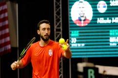 科列夫使用在比赛的Milojevic反对塞尔维亚,戴维斯杯2018年, Nis, 免版税库存图片