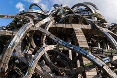 科列夫Lenivec,俄罗斯- 2017年9月16日:在艺术的木雕塑停放科列夫Lenivets国家公园,卡卢加州 免版税库存照片