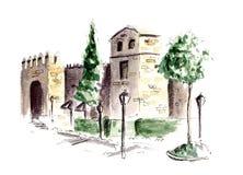 科多巴手画水彩剪影例证城市墙壁  免版税库存图片