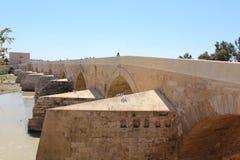 科多巴,罗马桥梁 清真大寺或梅斯基塔著名内部在科多巴,西班牙 库存照片