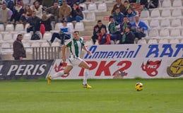 科多巴,西班牙- 1月13 :Sebastián在活动的Dubarbier W (16)在符合同盟科多巴期间(W)与Numancia (r) (1-0) 免版税库存图片
