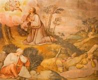科多巴-耶稣祷告在Gethsemane grarden从17的壁画 分 由未知的艺术家在教会Iglesia圣尼古拉斯de la Villa里 免版税图库摄影