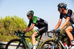 科多巴,西班牙- 2014年8月26日, :宽容的Stef (贝尔金赞成循环的队)通过La布埃尔塔第4个阶段的最后口岸  免版税库存图片