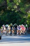 科多巴,西班牙- 2014年8月26日, :领导人小组在一个阶段的骑自行车者在西班牙的游览 库存图片