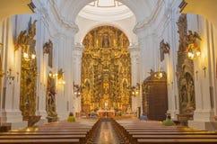 科多巴,西班牙- 2015年5月27日:巴洛克式的教会Iglesia de圣胡安y Todos los桑托斯教堂中殿  库存照片
