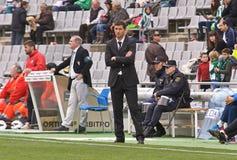 科多巴,西班牙- 3月17 :哈维尔在比赛同盟科多巴期间的Gracia卡洛斯(W)对阿尔梅里雅(r) (4-1) 库存图片