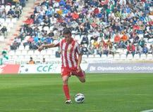 科多巴,西班牙- 3月17 :在行动的基督徒Fernï ¿ ½ ndez R (18)在比赛同盟科多巴期间(W)对阿尔梅里雅(r) (4-1) 免版税库存照片
