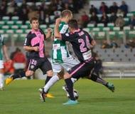 科多巴,西班牙- 3月30 :地亚哥Seoane Pérez W (2)在比赛同盟科多巴期间的行动(W)对萨瓦德尔(b) (3-0) 免版税库存照片