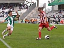 科多巴,西班牙- 3月17 :基督徒行动的费尔南德斯R (18)在比赛同盟科多巴期间(W)对阿尔梅里雅(r) (4-1) 免版税库存照片
