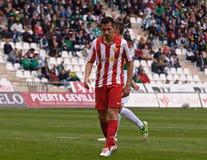 科多巴,西班牙- 3月17 :查尔斯Dias奥利维拉R (9)在比赛同盟科多巴期间的行动(W)对阿尔梅里雅(r) (4-1) 免版税图库摄影