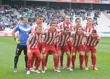 科多巴,西班牙- 3月17 :球员标注姓名起首字母对准线在比赛同盟科多巴期间(W)对市政体育场的o阿尔梅里雅(r) (4-1) 免版税图库摄影