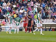 科多巴,西班牙- 3月17 :福纳多Soriano R (6)在比赛同盟科多巴期间的行动(W)对阿尔梅里雅(r) (4-1) 免版税图库摄影