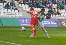 科多巴,西班牙- 3月17 :行动比赛同盟的科多巴卡洛斯骑士W (21) (W)对市政体育场的阿尔梅里雅(r) (4-1)  库存照片